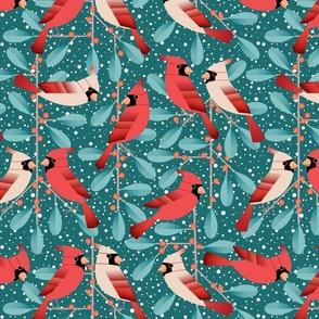 cardinals and mistletoe - dark
