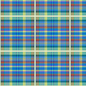 Derek's tartan - sky blue, turquoise, lemon, red