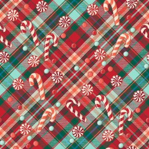 Christmas tartan plaid with candies