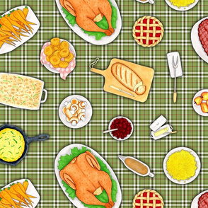 Holiday Dinner Green White