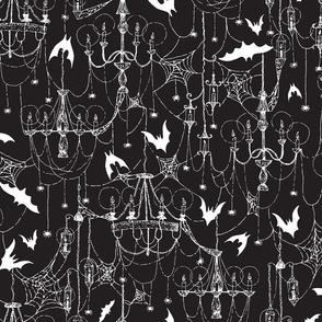 Creepy Gothic Spiderweb Chandeliers on Black