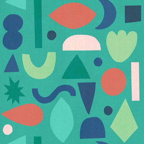 Abstract Holiday Shapes Teal
