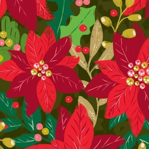 Maximalist Holiday Poinsettias - Large Scale