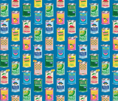 Canned Mood* (Risograph Blue Liz) || cans  food goods grocery supermarket price tags feelings fruits vegetables rainbow pride
