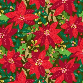 Maximalist Holiday Poinsettias by Angel Gerardo