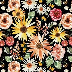 Sunflower Parade Black 7x7