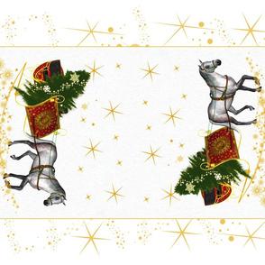 Christmas horse and sleigh tea towel