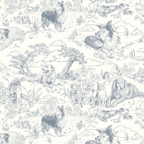 Country Dogs Toile Gray