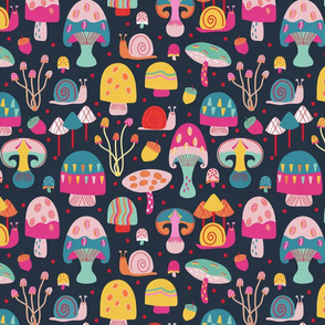 A Walk in the Mushroom Forest Navy Small