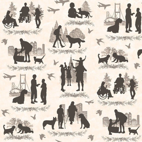 People 'n Pets Sepia Toile with a Twist