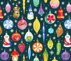 Vintage Christmas Ornaments on dark teal