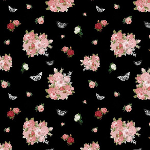 Antique Roses & Butterlies - black, medium