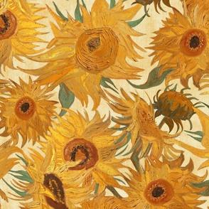 Van Gogh Sunflowers yellow  green rust