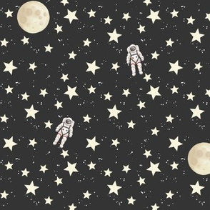 Space - Stars, Moon and Astronauts on black - small scale