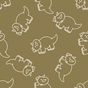 Simple triceratops dinosaur gender neutral baby pattern.