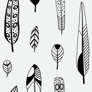 Black and white rustic feathers