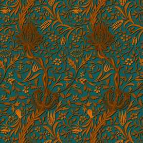 Flora ~ William Morris ~ Gilt Scroll on Capsized