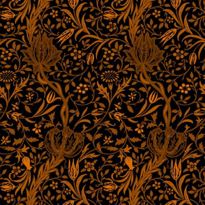 Flora ~ William Morris ~ Gilt Scroll on Blackest Black