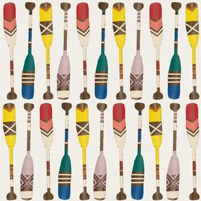 Painted Oars on Linen