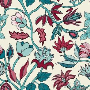 Indian Floral. Red _ Aqua
