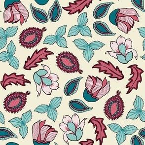 Indian Floral.Accent Print.Aqua.Red