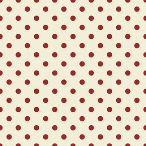 Red polka Dots on cream
