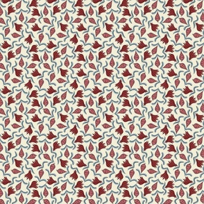 Indian Floral. Accent Print.Red.Blue