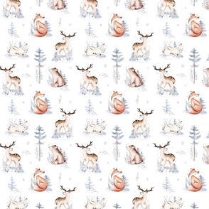 Watercolor winter holiday forest animals:  baby deer, fawn, owl, rabbits, bear, fox. Nursery woodland Christmas mood 5