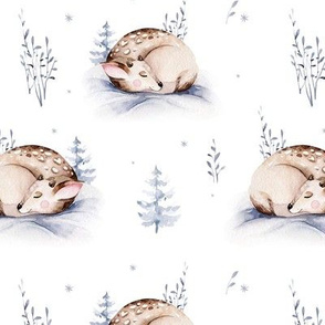 Watercolor winter holiday forest animals:  baby fawn. Nursery deer woodland Christmas mood 12