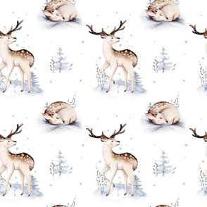 Watercolor winter holiday forest animals:  baby fawn. Nursery deer woodland Christmas mood 14