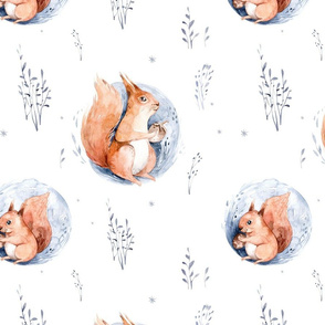 Watercolor Scandinavian forest holiday squirrel animals, baby squirrels. Nursery woodland Christmas mood 2