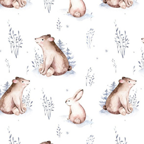 Watercolor winter holiday forest animals:  baby fawn and bunny. Nursery deer and rabbit woodland Christmas mood 10