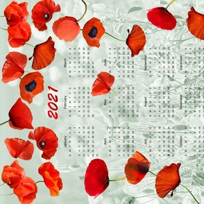 2021 Calendar with Red Poppies Tea Towel