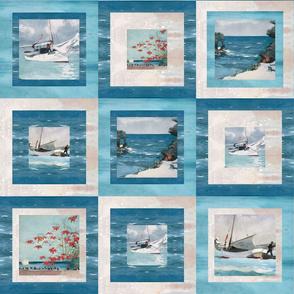 Winslow Homer seascape wholecloth quilt top aqua and blue