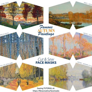 Autumn paintings Art  face masks cut out panel