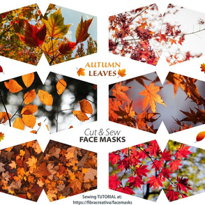 Autumn leaves face masks cut out panel