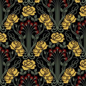 Edgewater Damask: Gold & Black Art Nouveau Floral