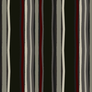 stripes / black red olive/holiday