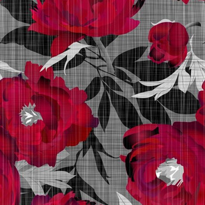 peonies red on linen texture - extra large