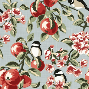 Chickadees & Apples - Blue - Large