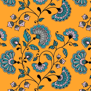 Boho Oriental flowers deep yellow Wallpaper Fabric