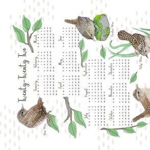 2021 Calendar Wrens Tea Towel