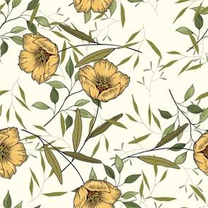 Vintage yellow botanical