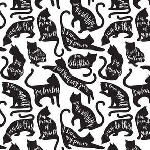 Tiny scale // Be like a cat // white background black cat silhouettes with affirmations