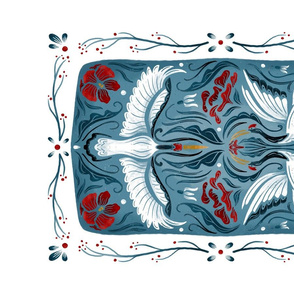Lamb Illustration's Winter Sandhill Crane Tea Towel