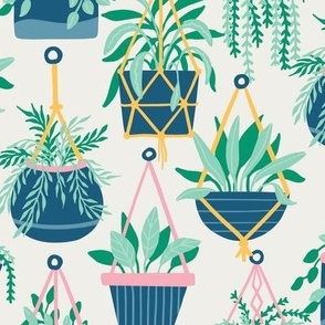 Hanging Potted Plants Boho Botanical  Nature in green and navy blue