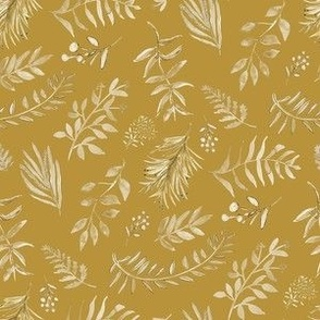 Botanical in Gold and Cream