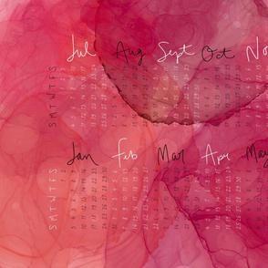Rosy Ink Spill Tea Towel Calendar