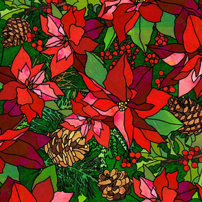 Stained Glass Poinsettias on Green