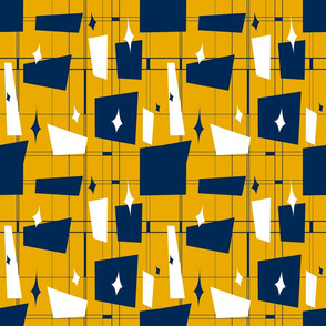 Blue Gold White MidCentury 2